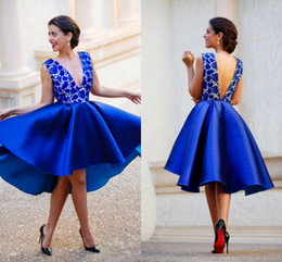 2017 Royal Blue Short Prom Dresses Hi Lo Sexy Deep V Cocktail Party Dresses Lace Satin Connected Open Back Evening Party Gowns BA0638