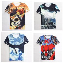 Wholesale Spiderman Shirts For Girls - New 2015 casual t shirt galaxy 3d skull girls top t-shirts for kids baby children's T Shirt spiderman summer cartoon clothing
