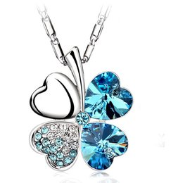 Wholesale 2015 Silver Necklace Jewelry Real Austria Crystal Sweet Style Four Leaf Clover Pendant Necklace Jewelry For Women Wedding Gift Colors