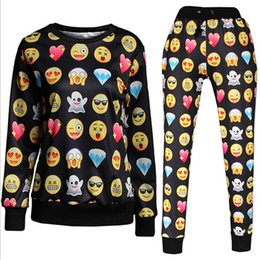 Wholesale-Women Winter Jogger Sets 2015 Fashion 3D Printed Emoji Jogger Set Crewneck Sweatshirt Men Clothing Funny Hoodie Clothes BX2073