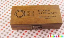 Wholesale-New uppercase & lowercase Wood stamp set   wooden box   30 pcs set   Wholesale
