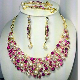 Wholesale pink bridal Jewelry set faux pearls crystal necklace earrings k gold tone NJ Rihood Jewelry buy one necklace get free