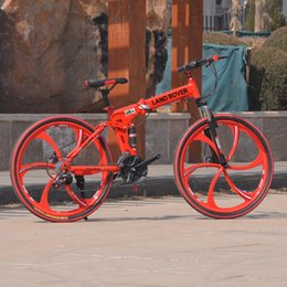 Wholesale new style speed red color inch bike with fender car lamp safetylock pedal full suspension folding carbon steel mountain bike