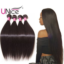 UNice Hair Peruvian Straight Hair Weave 8-30inch 3-5 Bundles Straight Virgin Human Hair Extensions Silk Nice Wholesale Bulk Bundle Remy Weft