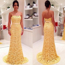 Strapless Yellow Lace Evening Prom Dresses Gorgeous Sheath Bridesmaid Dresses with Bow Belt Sweep Train Party Gowns 2016 Arabic Dresses