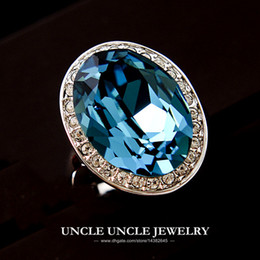 Ultra-big White Gold Color Austrian Crystal Blue Ocean Luxury Ring Wholesale