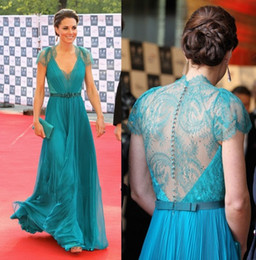 Wholesale Ellie saab evening dresses Blue Teal Chiffon and Romantic Lace V neck Cap Sleeves Ruched Bodice Sash Floor Length Gowns