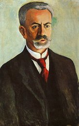 Wholesale August Macke painting for sale Abstract art oil Canvas Portrait of Bernhard Koehler hand painted High quality
