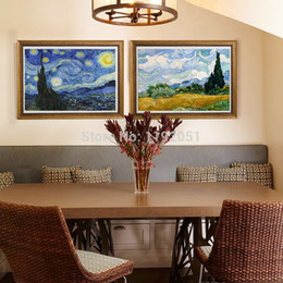 Wholesale scenery painting landscape mural print masterpiece reproduction starry night c1889 cypresses in wheat field by Vincent van Gogh