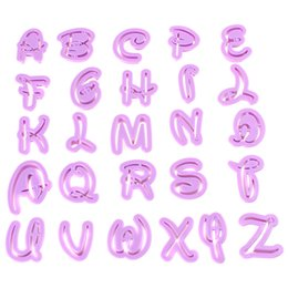 Wholesale 26Pcs set Funky Uppercase Purple Alphabet Letters Cutters Fondant Plastic Cookie Cutters for cake decorating play dough clay LIF_505