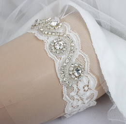 5 Pieces   Lot Crystal Beaded Lace Bridal Garters Belts Pure White Wedding Accessories Free Shipping