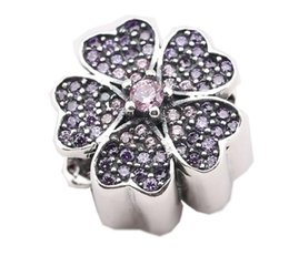 Sterling Silver Charms 925 Purple Rhinestone Floral Charms for Bracelets Flower DIY European Beads Accessories Free Shipping