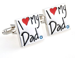 High Quality Novelty I Love My Dad Cufflink French Cufflinks Father's Day Gift For Mens Boy Jewelry Free Shipping W146