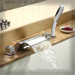 Wholesale new arrival Luxurious Chrome Finish piece Bathtub Faucet Mixer Tap waterfall glass wall faucet handle mixer