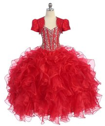 Christmas Gowns 2019 Organza National Girls Pageant Dresses with Jacket Real Picture Flower Girl Gown with Beads Floor Length Junior Dress