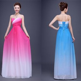 Wholesale Sweetheart Long Gradient Ramp Prom Dresses Sleeveless Pleats Lace up Floor length Formal Bridesmaid Dress Z2a