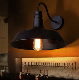 RH Brief Black Iron Industural Vintage Wall Lights Pot Lid Shape Novelty Hot Selling Aisle Room Wall Lamp E27 Edison Bulb