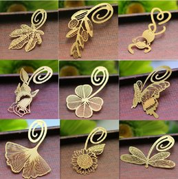 Wholesale Gift bookmarks Korean creative metal bookmark butterfly gingko olive feather lucky bird metal bookmarks