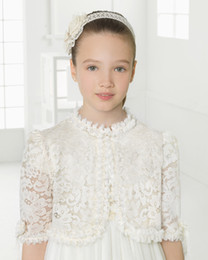 Wholesale Lovely Girls Jackets Ivory White Lace Sheer Half Long Sleeves Girls Accessories for Weding Party Custom Made Kids Jackets