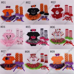 Wholesale summer Halloween Xmas floral newborn baby lace romper with tutu dress head band shoes leggings set baby clothing