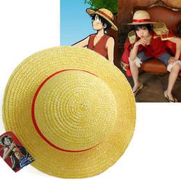 Gros-Luffy One Piece Anime Cosplay Canotier chapeau de plage Cap Halloween Beaux FreeShip wholesale boater hat on sale à partir de gros canotier fournisseurs