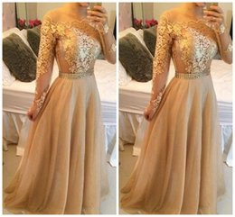 2015 Sexy Backless Lace Long Sleeves A-line Prom Dresses Bateau Tulle Floor Length Prom Gowns Gold Evening Dresses P76