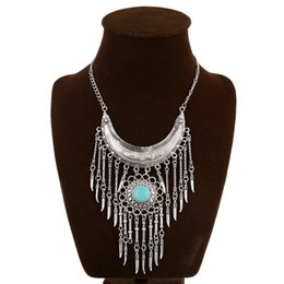 Spike Spike European and American retro fashion moon inlaid turquoise necklace manufacturers, wholesale exaggeration Ms.