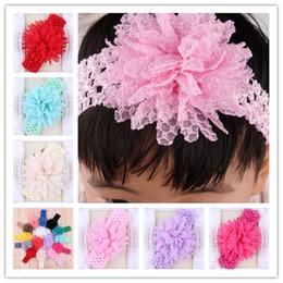 High Quality Baby Crochet Headbands With Mesh Tulle Flower Elastic Hairbands Hair Accessories Girl Christmas Hair band Headwear