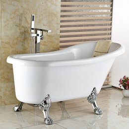 Wholesale And Retail Modern Square Polished Chrome Brass Bathroom Tub Faucet Tub Filler Floor Mounted Bathroom Shower