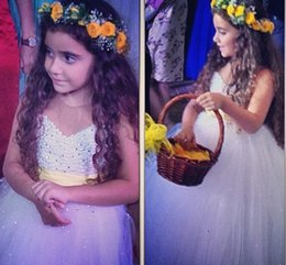 Lovely Little Girl Pageant Dress with Beaded Ribbon Floor Length Arrbic Flower Girls' Dresses Princess Bady Communion Gowns