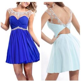 Hot Sales Short Homecoming Dresses Chiffon Scoop Neckline Sleeveless Beaded Crystal Rhinestone Ruffles Sexy Backless Mini Party Gowns H001