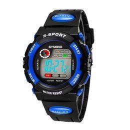 Wholesale SYNOKE Boy Sports Watch Multi functional ATM Water resistant Digital Kids Wristwatch with Night light Alarm and Watch box J0474 J0551