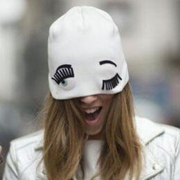 Wholesale Newest Fashion Hats for Women Winter Knitting Beanies Big Eyelashes Wink Hippie Eye Gorros Sport Cap Female Ski Skullies JIA539