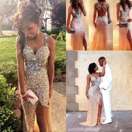 Sparkly Gold Crystal Rhinestone Prom Dresses 2018 Sexy Spaghetti Backless Long Splits Evening Dresses Pageant Party Gowns