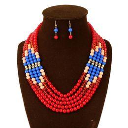 Bisutería perla roja en Línea,Conjunto collar de la boda de los granos rojos africanos
