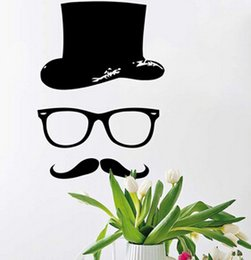 Wholesale 2015 cartoon Wall Sticker Barber Shop Mustache Hat Glass Decal Boy Salon Bedroom Decor Decals