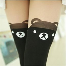 Wholesale 2pcs Sexy Womens Lady Cat Tattoo Stockings Pantyhose Black Over Knee High Thigh Tights Leggings styles Fashion
