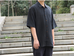 Wholesale-Bahama Black Silk short sleeve brand dress shirt M L XL