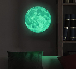 Wholesale Funlife Dia cm in Peel N Stick World Moonlight Sticker Glow In The Dark Moon wall Children Room Luminous Planet FL1073