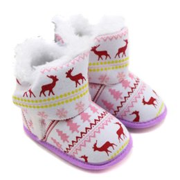 Wholesale Baby Toddler Soft Bottom Christmas Deer Warm Shoe Infant Months Boys Girls Winter Warmer Foot Ankle Snow Boots Hot Sale