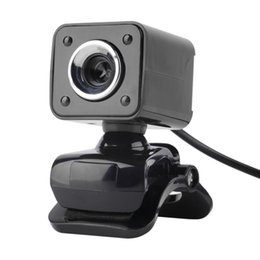 Wholesale-USB 2.0 4 LED Webcam Web Cam Camera with MIC for Laptop Computer PC Brand