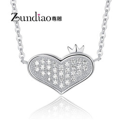Wholesale 017 Statue carved sterling silver jewelry S925 Heart shaped diamond pendant necklace full crown female clavicle chain pendant