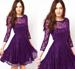 2019 Lace A-Line Crew Purple Lace Homecoming Dresses 3 4 Long Sleeve Knee-Length Graduation Dress Ruched Party Dress Sheer Neck Prom Gowns