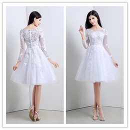 Youthful Short 2015 Wedding Dresses Knee-length Cheap Stockings Bridal Gowns with Long Sleeves White Black Lace Bride Dress In Stock SX020
