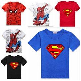 Wholesale Cotton Superhero T Shirts - Boys t shirt Baby Spiderman Clothing Cotton Tee Short Sleeve Baby Boys Superhero Summer T shirt 5pcs Lot Free Shipping