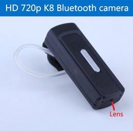 Forma de Bluetooth Auriculares Estilo de los auriculares Full HD 1280 * 720P espía cámara de vídeo grabadora de audio Cam Mini DV DVR videocámara 2pcs / lot desde bluetooth auriculares cámara espía fabricantes