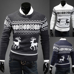 Wholesale-England British Animal Deer Print Men Pullover Sweater Male O Neck Long Sleeve Casual Mens Wool Sweaters Pullovers Free shipping