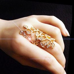 Pretty Women Fashion Silver Gold Color Flower Joint Armor Knuckle Crystal Ring Leaf Pattern