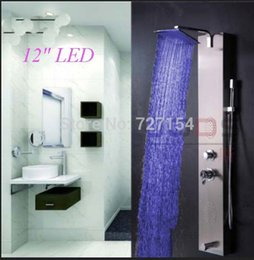 Wholesale LED Color Changing quot Rain Shower Faucet Bathtub Mixer W Hand Shower Body Jets