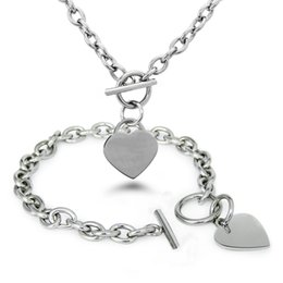 New Fashion Women Jewelry Set Silver Polished Stainless Steel Heart Chain Necklace and Bracelet Set